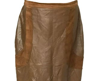 cfe7c2ef3d 80s Genuine Leather Panel Suede Brown Lined Pencil Skirt, Italian suede  leather skirt, punk new wave retro old school skirt, leather skirt