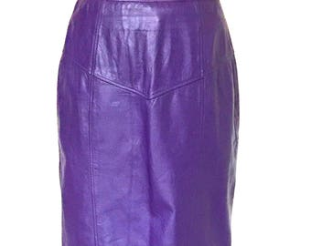 1980s Vintage Eccentric Ultra Violet Purple Grape Genuine Leather Skirt