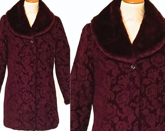 Vintage Tapestry Coat Long Jacket Faux Fur Detachable Collar Mulberry Wine f41915d26
