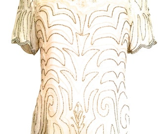 a61b2dab513eb 80s Papell Boutique Pure Silk Ivory Cream Off White Scalloped Sequinned  Beaded Faux Pearls Top Tunic Blouse