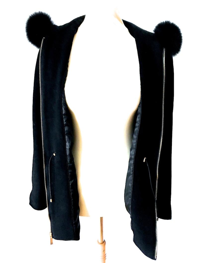 Black Wool Real Fur Trim Ladies Hooded Car Coat Ellen Tracy Black Wool Scandinavian Fox Trim Hooded Zip Parka Fitted Jacket Short Over Coat