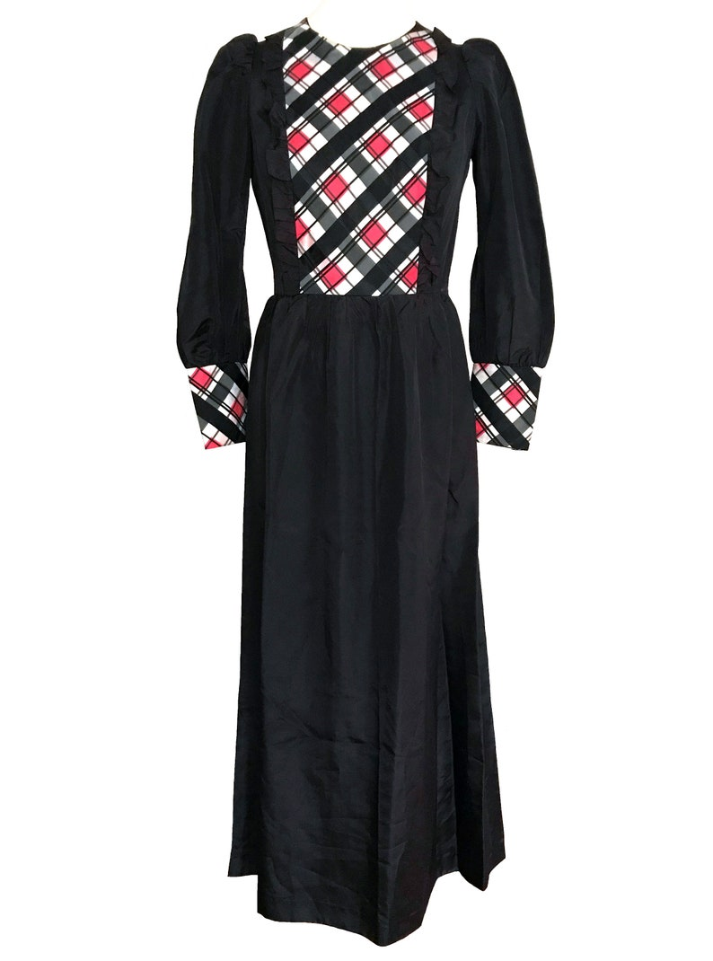 60s Edwardian Style Black Red White Taffeta Diamond Check Plaid Detail Ruffle MOD Occasion Halloween Costume Xmas New Year Party Maxi Dress