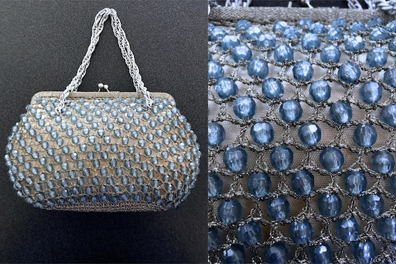 50s-60s Blue Crystal Glass Evening Bag, Silver Met