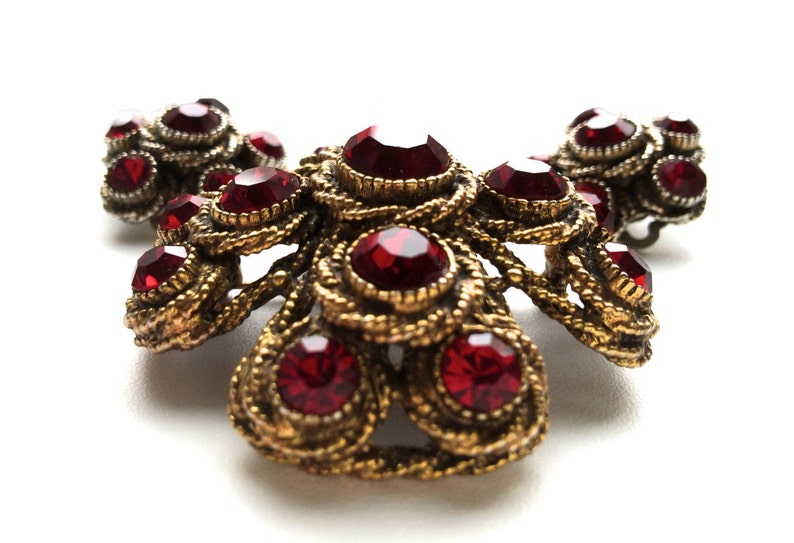 RARE 50s-60s HAR Hargo Creations of New York Chunky Ruby Red Rhinestone Maltese Cross Brooch and Fab Siam Red Clip Earrings Jewelry gift Set