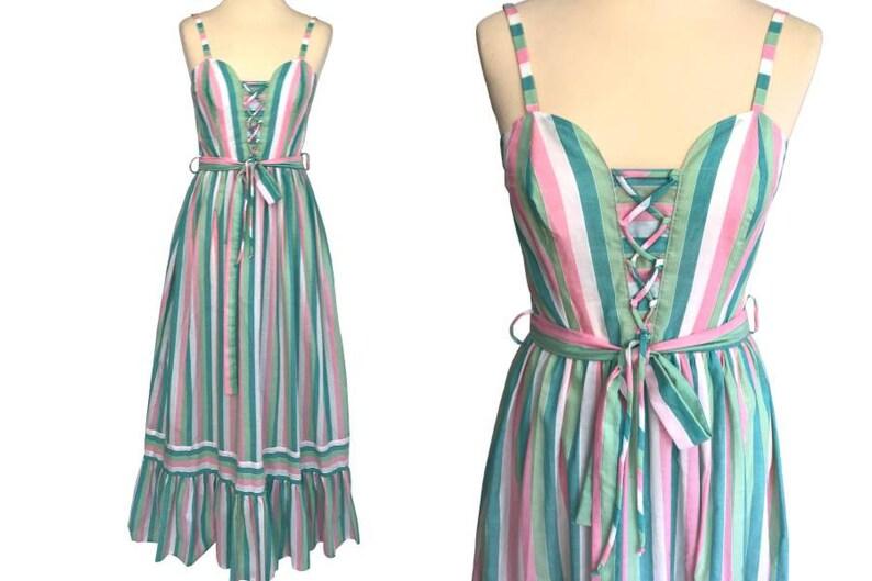 99f96b8d6501 70s VERA MONT Paris Pastel Colours Striped Cotton Lined