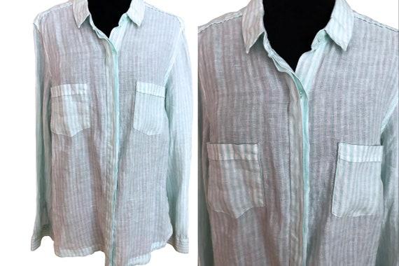 100% Flax Linen Striped Shirt Blouse, Pistachio Gr