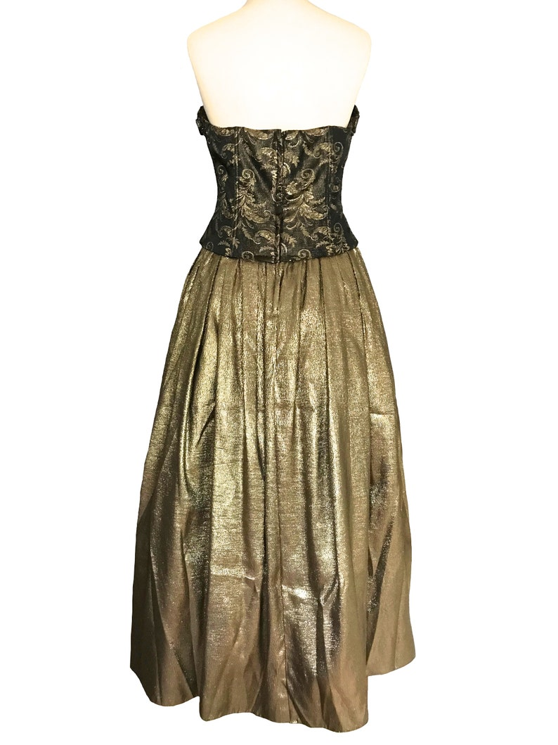 Party Xmas New Year Ball Gown 80s Bari Jay Gold Lame Brocade Dress Metallic Rosettes Strapless Dress Cold Shoulder Puff Skirt Prom Dress