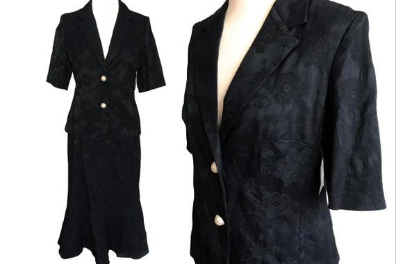 90s Black Cotton Jacquard Jacket & Skirt Suit, 40s