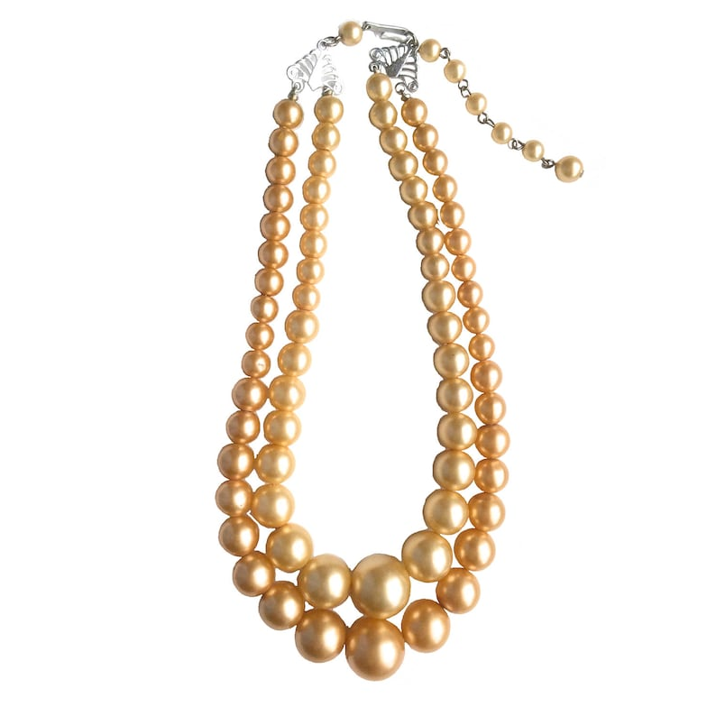 50s Vintage Faux Pearls Stamped Hong Kong Champagne and Rose Gold Double Strand Necklace