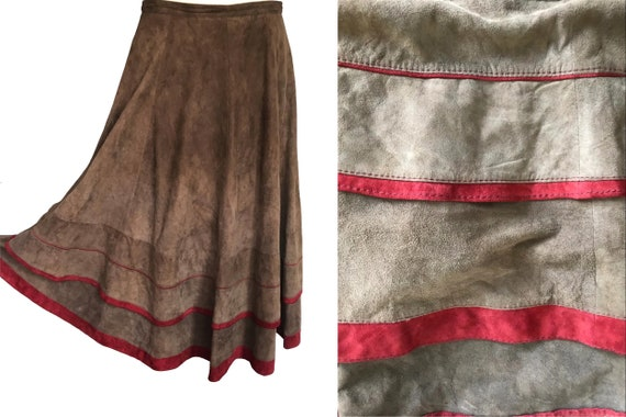 80s Genuine Suede Butter Leather Swing Skirt, Beig