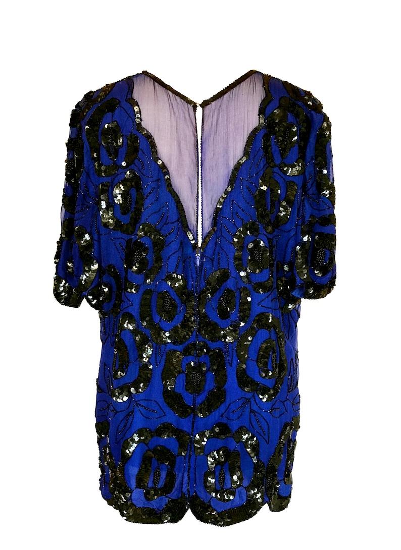 80s Vintage Blueberry Wine Art Deco Silk Sequinned Scallop Edge Mardi Gras Festival Top Long Tunic Dress Large