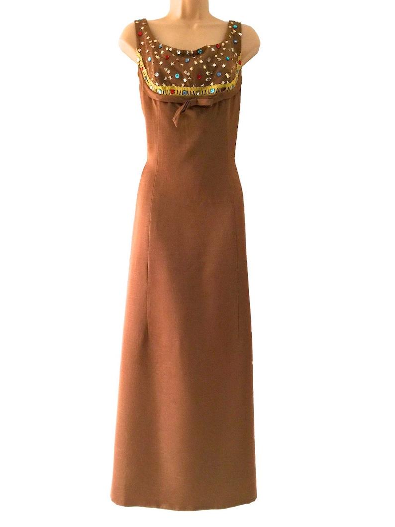Raw Shot Silk Brown Gold Dress Prom Xmas New Year Party Dress Rhinestone Embellished Evening Dress 60s 100/% Silk Spicy Caramel MOD Dress