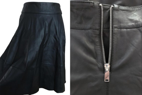 50s Style Real Leather Half Circle Skirt w/ Wide O