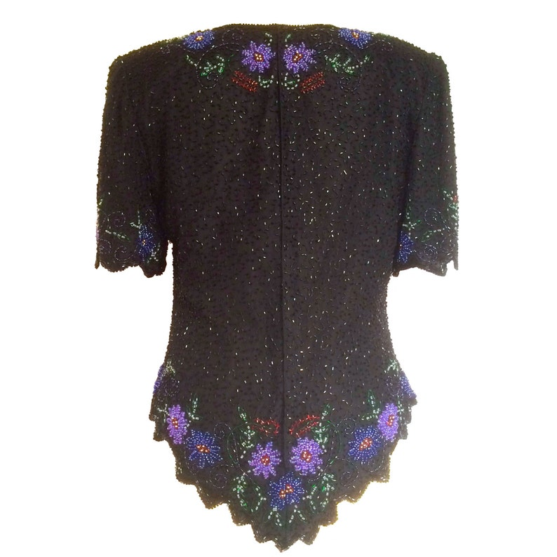 80s Laurence Kazar Pure Silk Black Beaded Lavender Purple Blue Red Floral Beading and Scalloped Hem Trophy Prom Party Top Blouse Size Medium