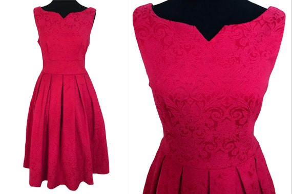 50s Style Pink Raspberry Jacquard Dress, Sweethear