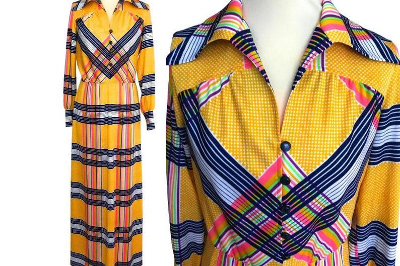 9caa3fdc5759a 70s Lapidus of Sweden Multicolor Check Polka Dot Boho Maxi | Etsy