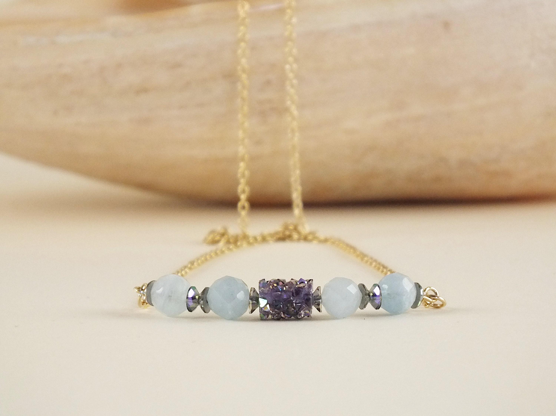 Raw aquamarine necklace, Swarovski crystal, 14 k gold filled