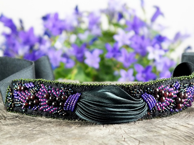 Choker necklace Shibori silk bracelet Ribbon necklace Beaded necklace Gifts for women Silk necklace Gift for her  for her