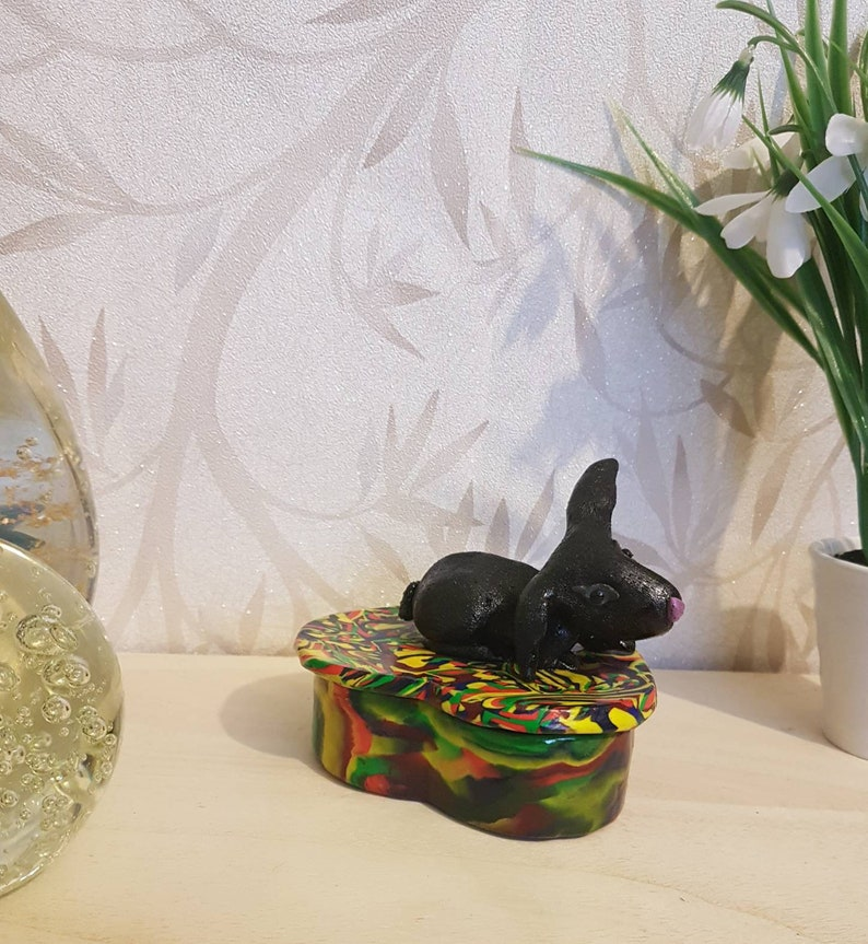 Polymer Clay Box Storage Box Black Rabbit Statue Fimo Box Jewelry Box Keepsake Box Gift Box Trinket Box Rabbit Box Rabbit Ornament
