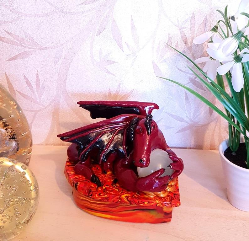 Fimo Box Gift Box Jewelry Box Storage Box Dragon Box Polymer Clay Box Keepsake Box Red Dragon Statue Dragon Ornament Trinket Box