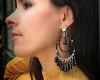 Gorgeous orange and beige beads beach  earrings resortwear earrings shell earrings pool party earr beach earrings