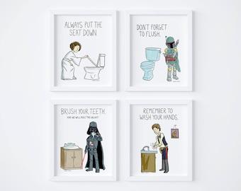 printable star wars kids bathroom rules set of 4 instant download bathroom printable bathroom art kids art childrens bathroom art - Star Wars Bathroom
