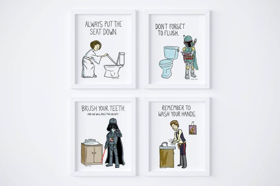 Printable Star Wars Kids Bathroom Rules Wash Your Hands Set Etsy