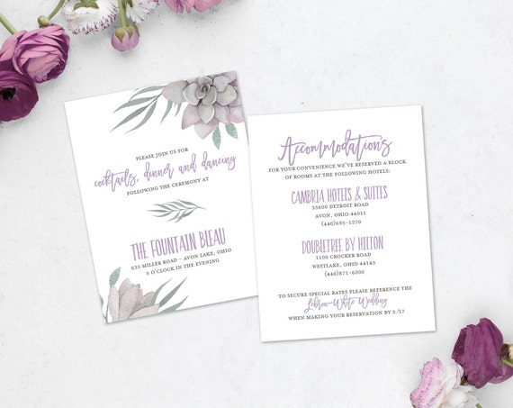 Lilac Succulent Rustic/Boho Wedding Information Card