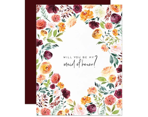 Burgundy Floral Maid of Honor Card