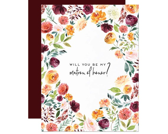 Burgundy Floral Matron of Honor Card