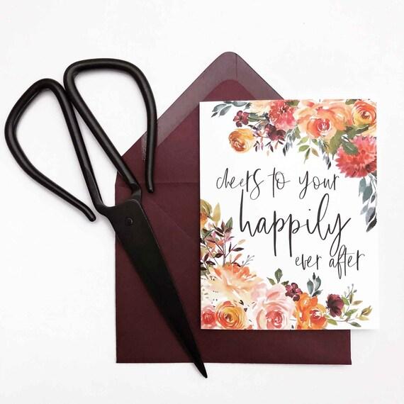 Burgundy Floral Bridal Shower/Wedding Card - Happily Ever After