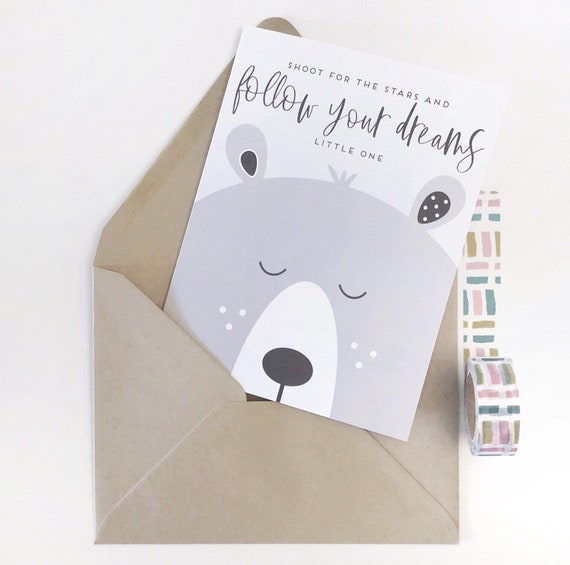 Follow Your Dreams Little One - Bear Baby Shower/Expecting Card