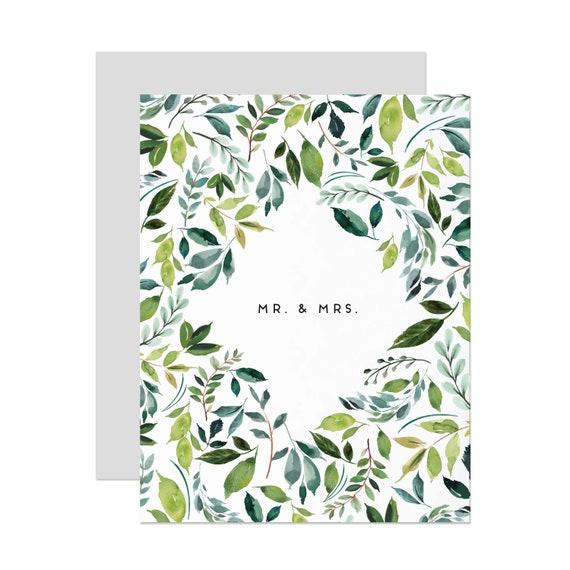 Mr & Mrs Greenery Wedding/Bridal Shower Card