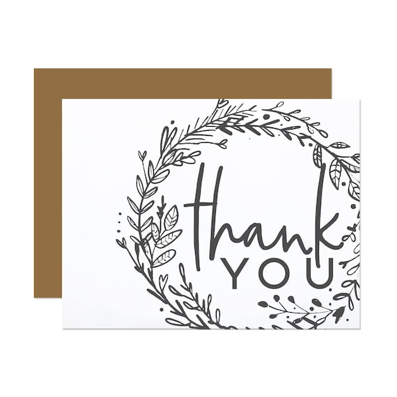Charcoal Floral - Thank You Card