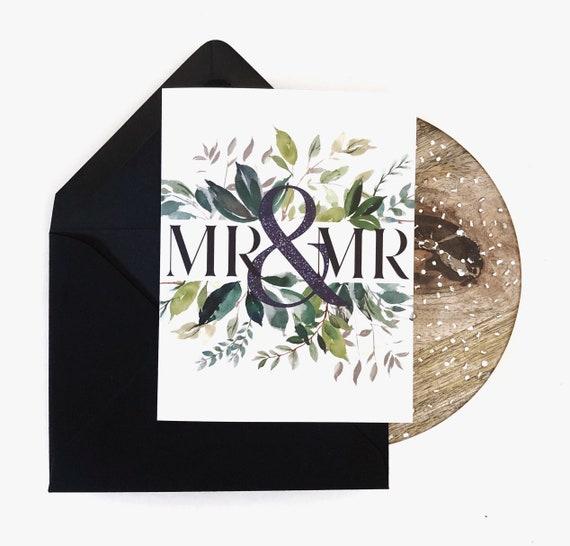 Mr. & Mr. - Modern Greenery Wedding Card