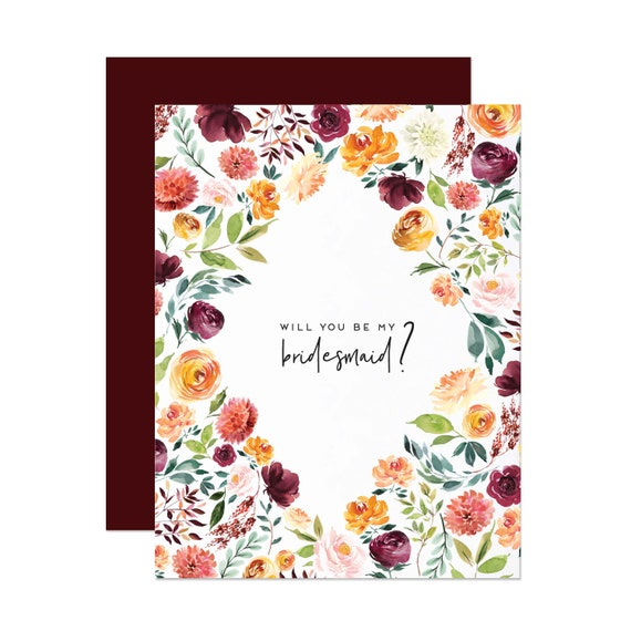 Burgundy Floral Bridesmaid Card