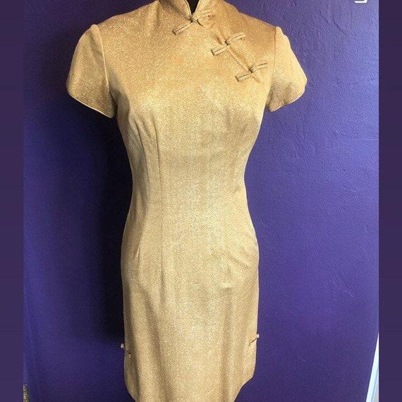 Gold lurex Alfred Shaheen Cheongsam style dress