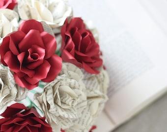 Book Paper Bridal Bouquet, 19 Long Stem Roses, Paper Flower Bouquet, Book Page Roses, Paper Roses, Eco Wedding Flowers