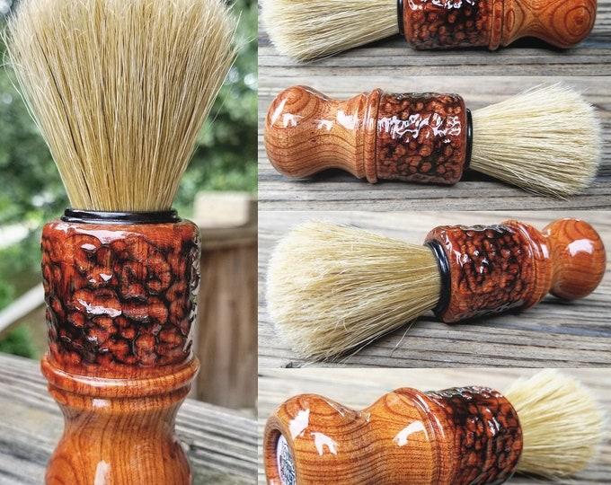 Cherry Wood Shaving Brush with Texturing/Wood Burning, Handmade, Free Shipping
