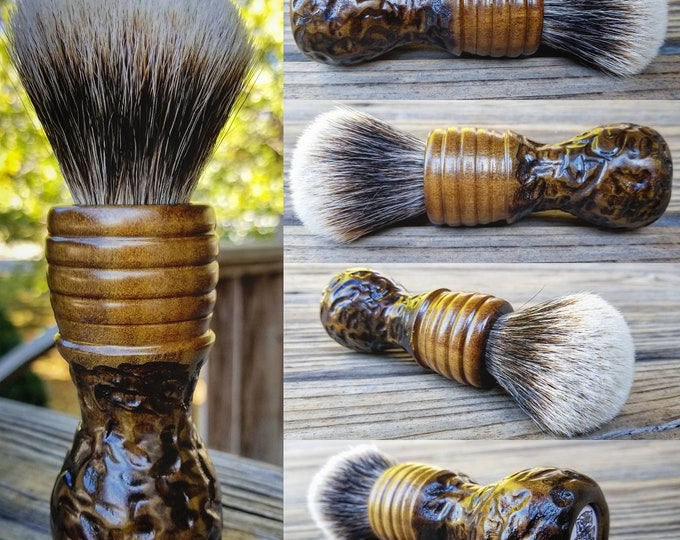 Rainbow Poplar Wood Shaving Brush with Texturing/Wood Burning, Handmade, Free Shipping