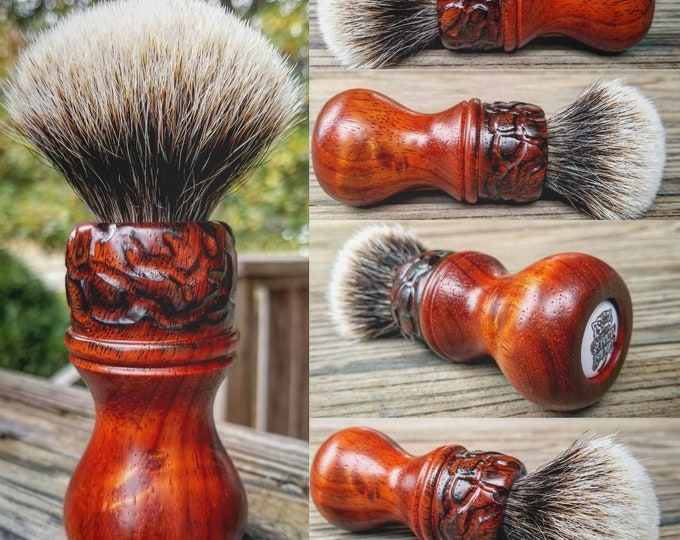 Bloodwood Shaving Brush with Texturing/Wood Burning, Handmade, Free Shipping