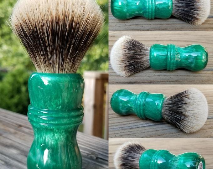 Emerald Green Shaving Brush, Handmade, Free Shipping