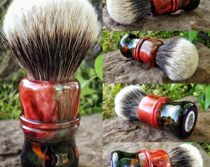 Red/Black Multi Colored Shaving Brush, Handmade, Free Shipping