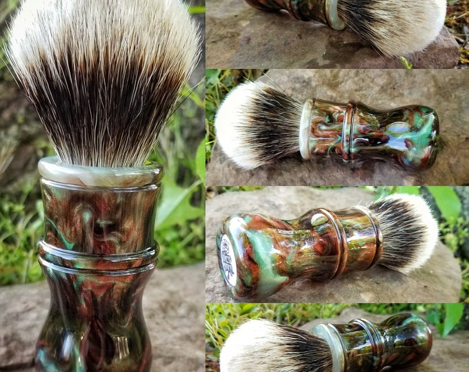 Interlace/Spring Green and Copper Shaving Brush, Handmade, Free Shipping