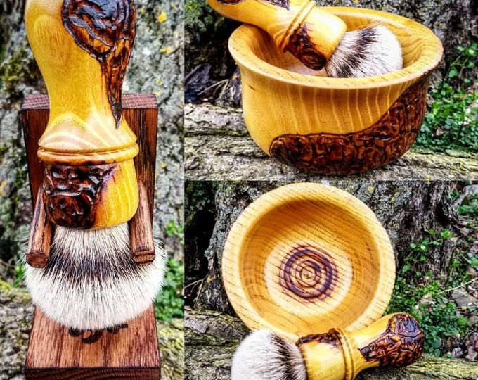 Osage Orange Wood Shaving Brush and Bowl Set with Texturing/Wood Burning, Handmade, Free Shipping