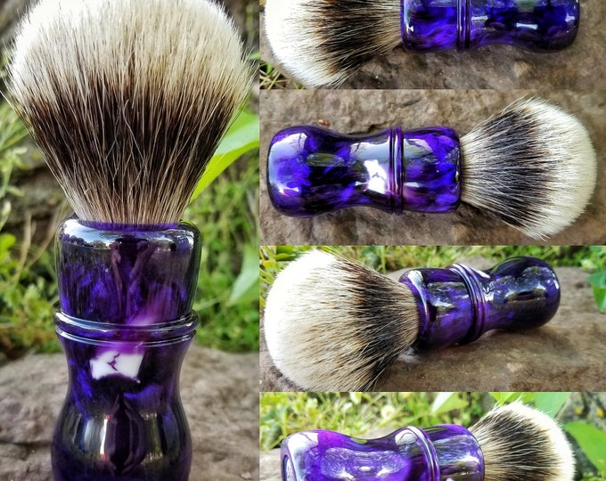 Purple and White Shaving Brush, Handmade, Free Shipping