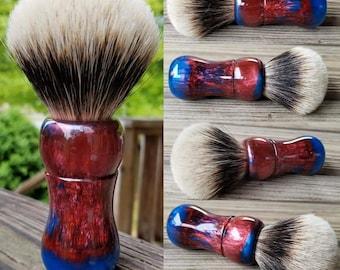 Crimson Red and Turquoise Shaving Brush, Handmade, Free Shipping