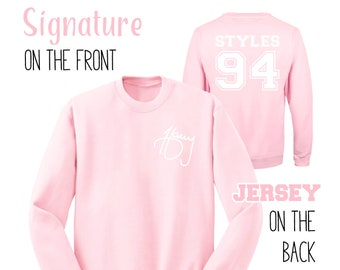 Pink Signature Jersey Sweatshirt One Direction Gift One Direction Shirt 1D Teen Girl Gift Ideas Teens Aesthetic Tumblr Sweatshirt Harry