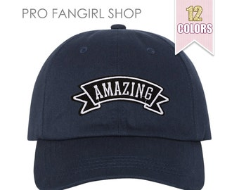 Amazing Dad Hat, Tumblr Aesthetic Clothing Baseball Hat Custom Embroidered Patch Black Dad Hats Unisex Baseball Caps Teen Girl Gift Ideas