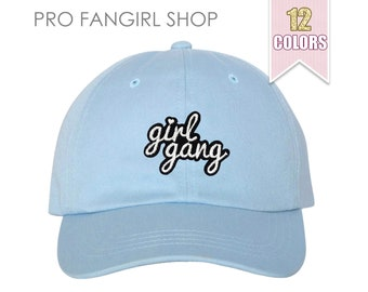 Girl Gang Dad Hat, Tumblr Aesthetic Clothing Baseball Hat, Embroidered Patch Pink Dad Hats Squad Dad Cap Baseball Caps Teen Girl Gift Ideas